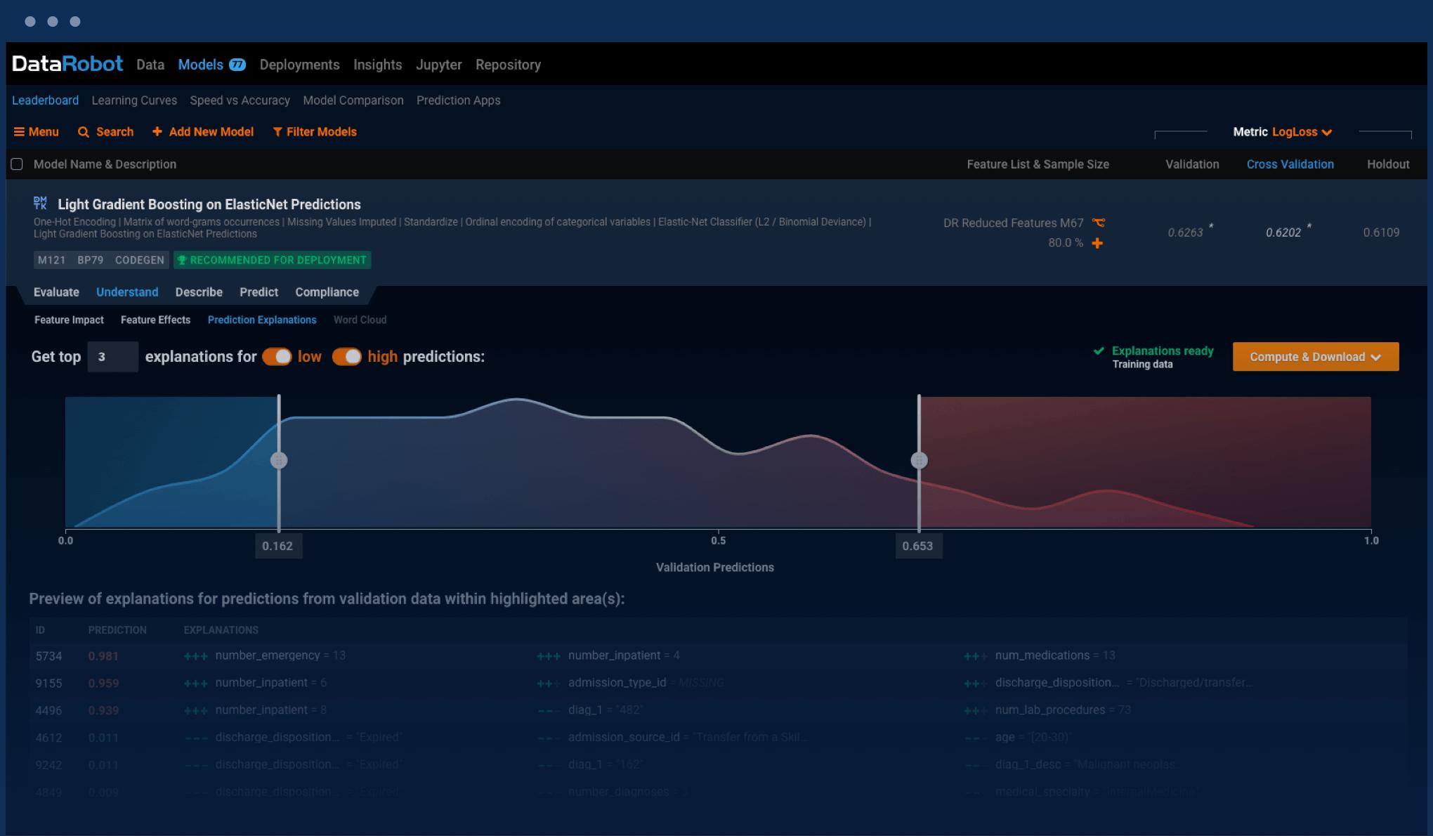 DataRobot App Screenshot