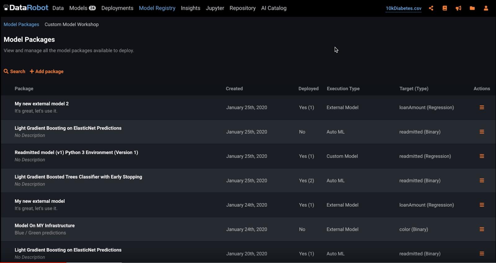 Model Registry Screen