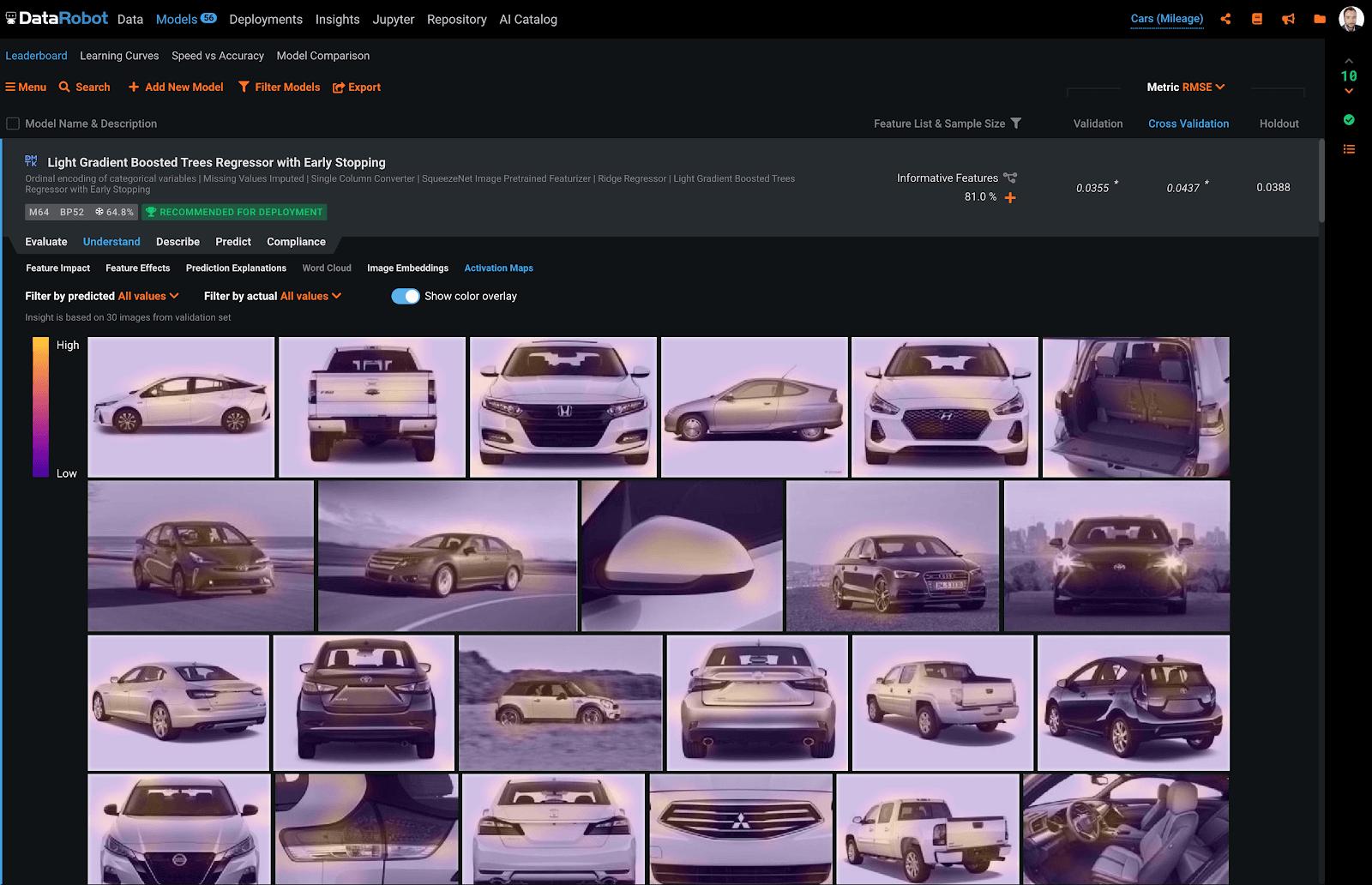 DataRobot Visual AI interface